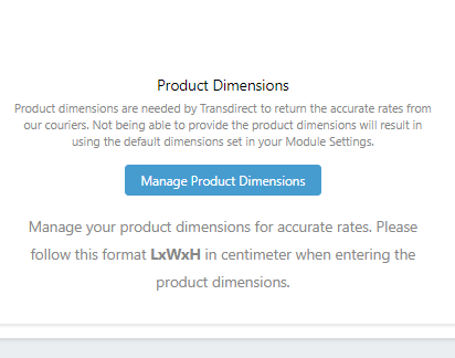 Transdirect Shopify App Product Dimension