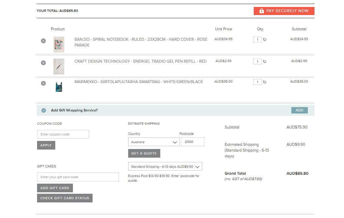 milligram stationary checkout page
