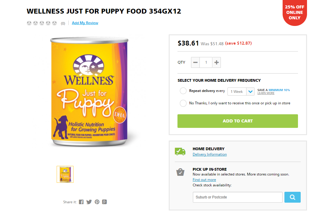 petbarn puppy food product page