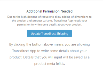Transdirect Shopify App Product Request