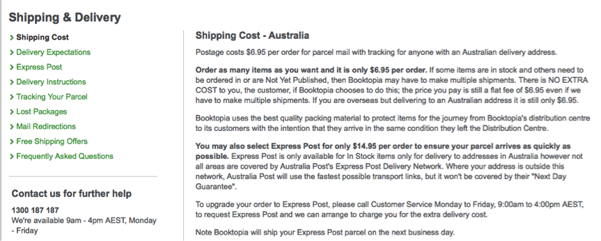 Booktopia Shipping Policy