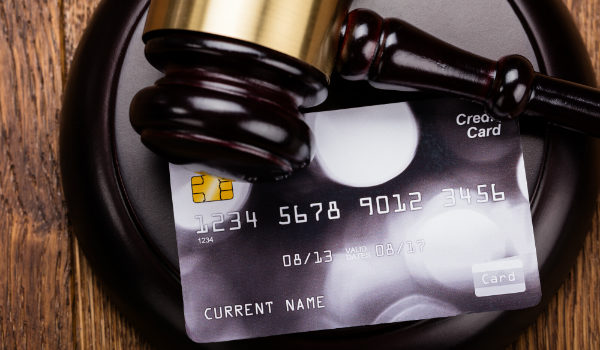 judge gavel on credit card