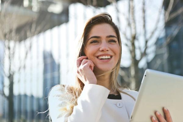 businesswoman using parcelpoint