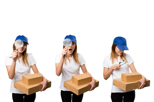 Woman looking at parcels
