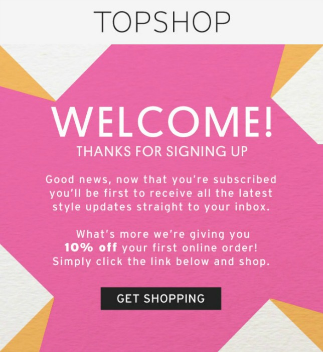Topshop Welcome email