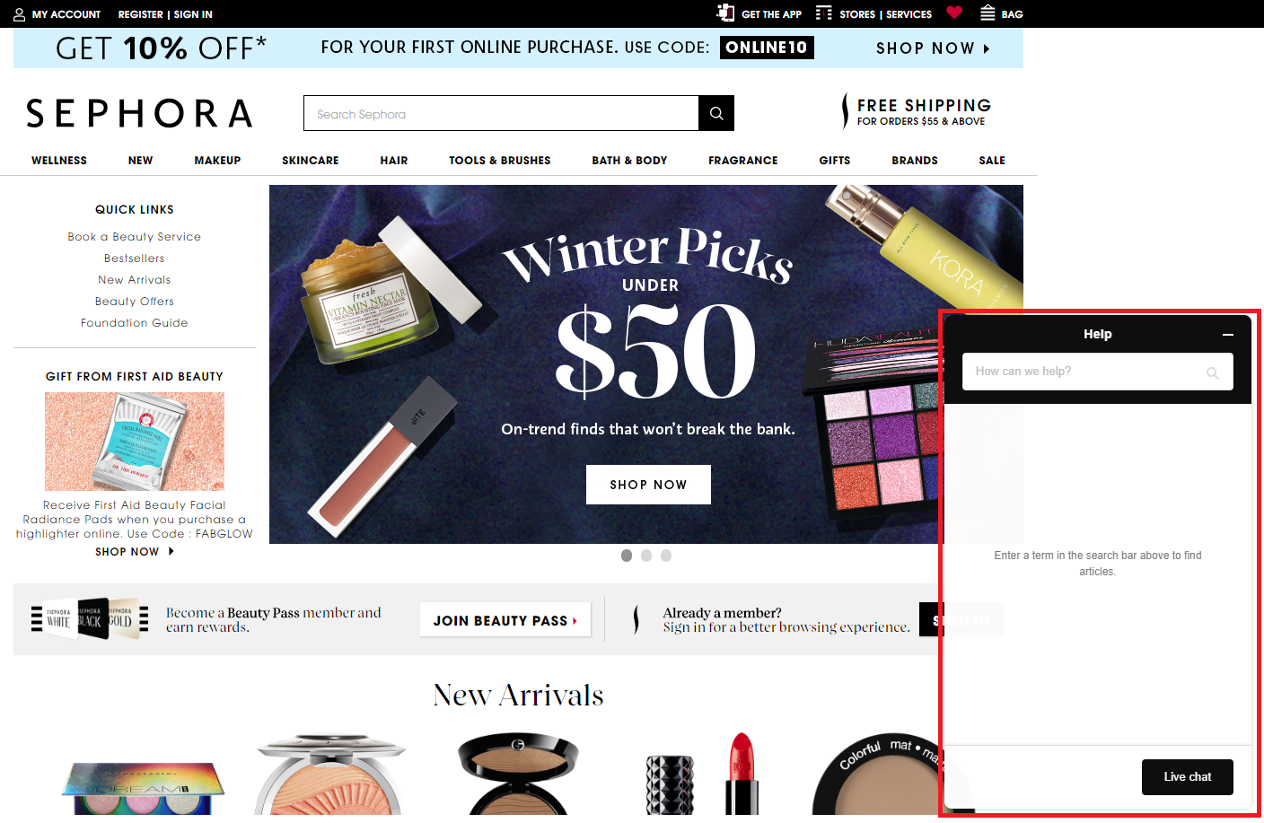 Sephora chatbot pop up