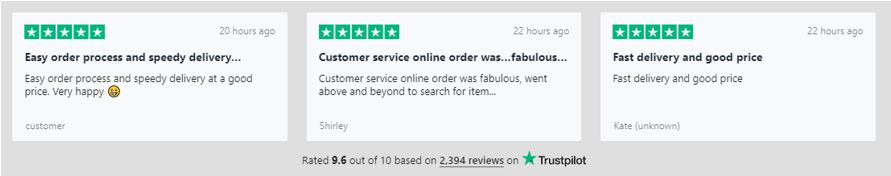 Reviews via TrustPilot