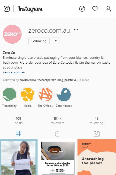 zero co plastic instagram profile