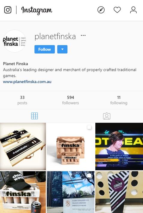 PlanetFinska instagram profile page