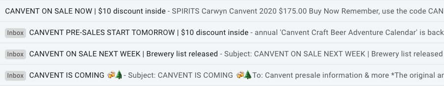 Carwyn Cellars used a four-email sequence with special subscriber/customer discount code leading up to the sales launch day.