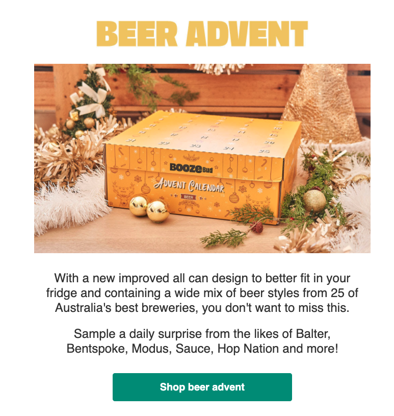 This pre-order sales launch email (sent the day of launch) featured personalisation, a photo of the new product in a festive holiday setting, social proof (50,000 sold last year) and copy that motivated readers to order fast.